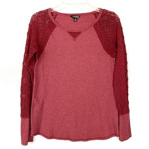 Lucky Brand Red Thermal and Knit Shirt Size M